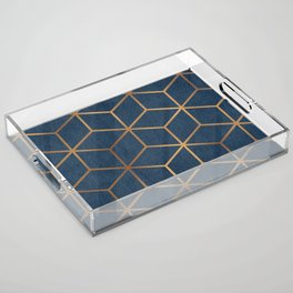 Dark Blue and Gold - Geometric Textured Cube Design Acrylic Tray
