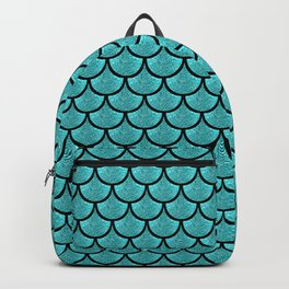 Turquoise  mermaid scale with  glitter effect Backpack