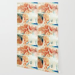 Big Cell Acrylic Peach Blue Pour Painting Wallpaper