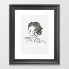 line art Lady Framed Art Print