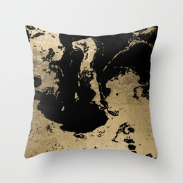 Elegant faux gold foil black chic marble pattern Throw Pillow
