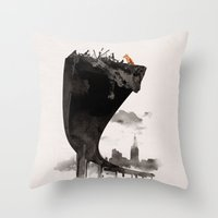 the last of us Throw Pillows featuring The Last of Us by Robert Farkas