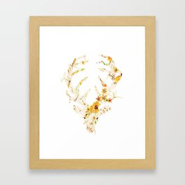 Mr Stag Orange Flowers Framed Art Print