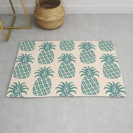 Retro Mid Century Modern Pineapple Pattern Teal and Beige Rug