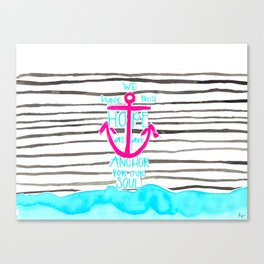 We Have This HOPE - Anchor (pink/blue) Canvas Print