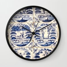 Dutch Delft Blue Tiles Wall Clock