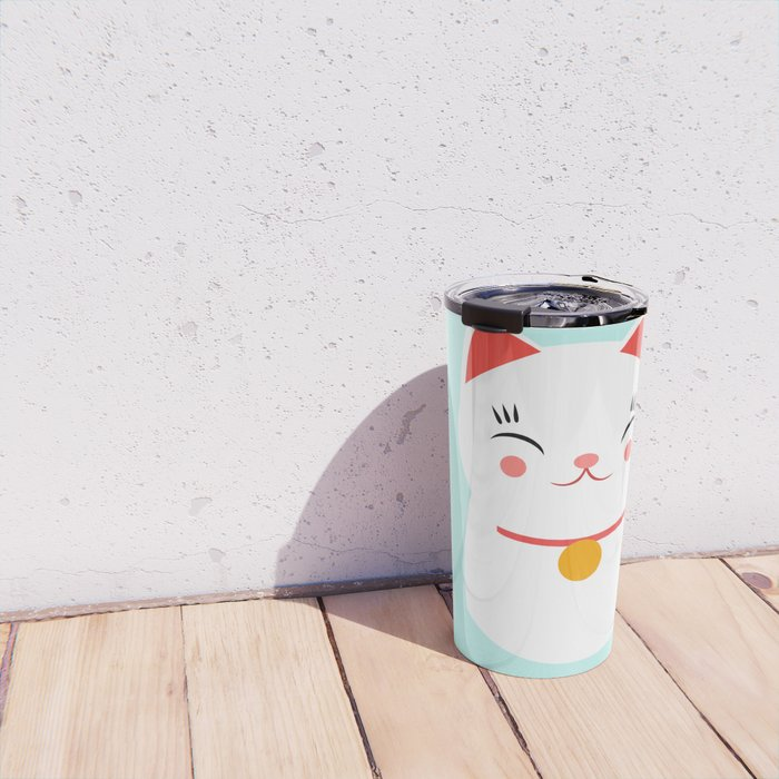 Lucky happy Japanese cat Travel Mug