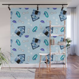 Dog Paradise in Blue Wall Mural
