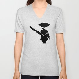 Bearded pirate with the sword and the hook Unisex V-Neck