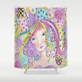Whimiscal Girl Faith, Hope, Love Shower Curtain