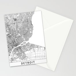 Detroit White Map Stationery Cards