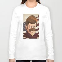 ron swanson Long Sleeve T-shirts featuring Ron Swanson by nachodraws