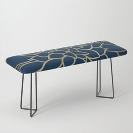 Floral Prints, Line Art, Navy Blue and Gold Bench