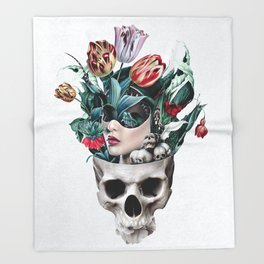 Skull Girl Throw Blanket