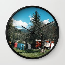 Gypsy caravan and hanging clothes in the south of France - Travel photography Wall Clock