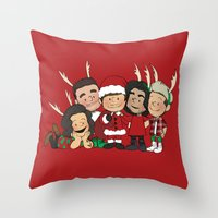 liam payne Throw Pillows featuring It's Christmas, Liam Payne by Ashley R. Guillory