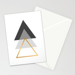 Triangles art, Black, white and gold Stationery Cards