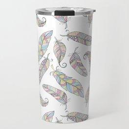 Pastel Doodle Feather Pattern Travel Mug