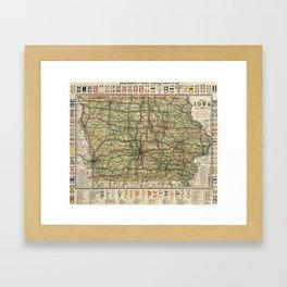 Vintage Iowa Automobile Map (1919) Framed Art Print