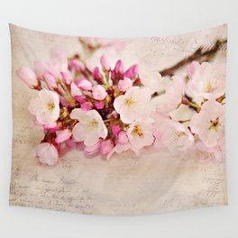 cherry blossoms with typography Wall Tapestry