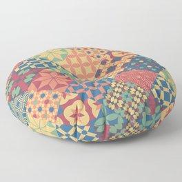 Leiden vintage cheater quilt colorful geometric design Floor Pillow