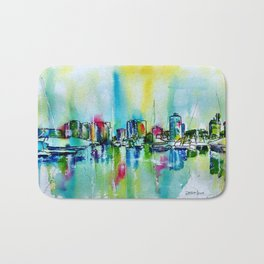 Abstract View of Downtown Long Beach Coastline Bath Mat