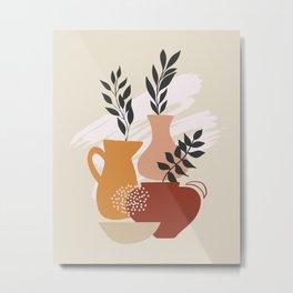 Botanical with Vases Metal Print