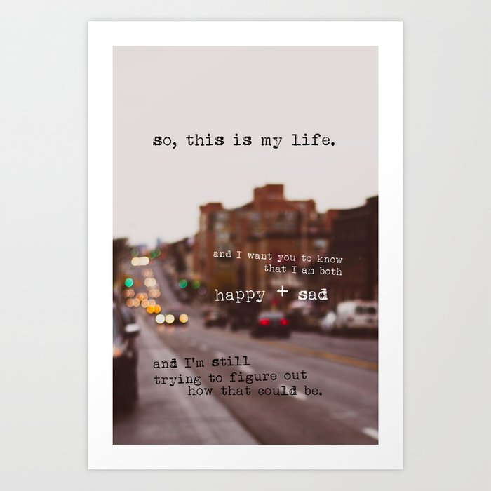 perks of being a wallflower - happy + sad Art Print