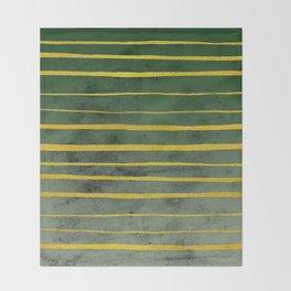 Gold Stripes on Green Throw Blanket