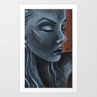 "indigo Art Prints featuring Indigo by Barbora ""Mad Alice"" Urbankova"