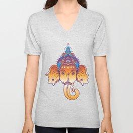 Hindu Lord Ganesha over ornate colorful mandala.  Unisex V-Neck