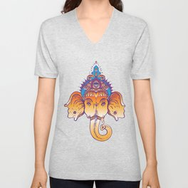 Hindu Lord Ganesha over ornate colorful mandala.  Unisex V-Neck