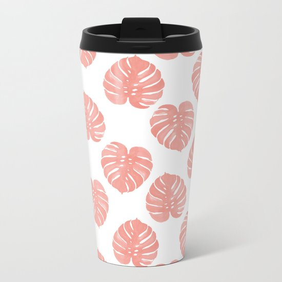 Monstera house plant minimal watercolor painting trendy gifts for anyone leaves tropical beach Metal Travel Mug