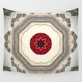 Tile Red Mandala Wall Tapestry