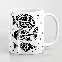 Black and white illustration . Fish . Coffee Mug