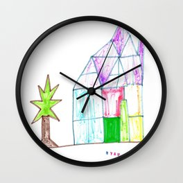 Stained Glass House Wall Clock