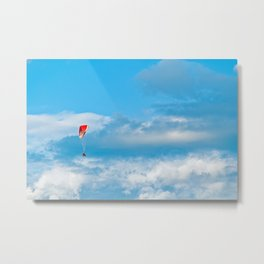 Paraglider above the clouds Metal Print