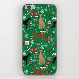 Christmas Greyhound pattern gifts for greyhound rescue dogs must have festive holiday dogs iPhone Skin