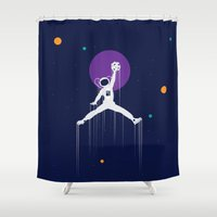nba Shower Curtains featuring NBA Space by Tony Vazquez