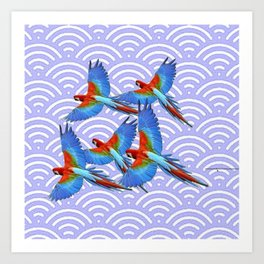 MODERN ART BLUE & RED TROPICAL MACAWS IN FLIGHT ART f Art Print