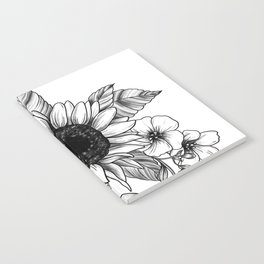 Bouquet of Flowers with Sunflower / Fall floral lineart Notebook