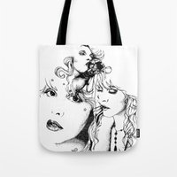 stevie nicks Tote Bags featuring Trois Stevie by Lynette K.