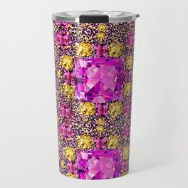BEAUTIFUL FACETED PINK SAPPHIRES & CITRINES GEMS ART Travel Mug