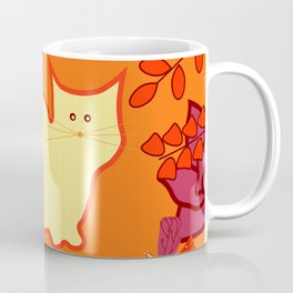 Curious cat, butterflies and leaves Coffee Mug