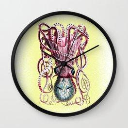 Pink Quantum Octopus Wall Clock