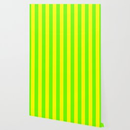Bright Neon Green and Yellow Vertical Cabana Tent Stripes Wallpaper