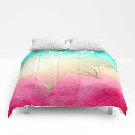 Gold Flower on Turquoise & Pink Watercolor Comforters