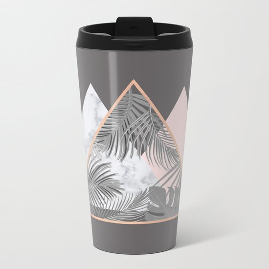 BLUSH GRAY COPPER MARBLE GEOMETRIC PATTERN Metal Travel Mug