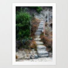 Beach Stairway Foliage Art Print