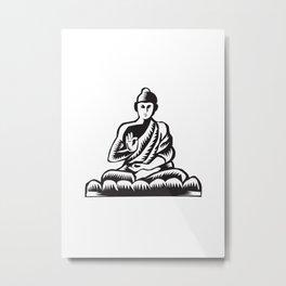 Buddha Lotus Pose Woodcut Metal Print